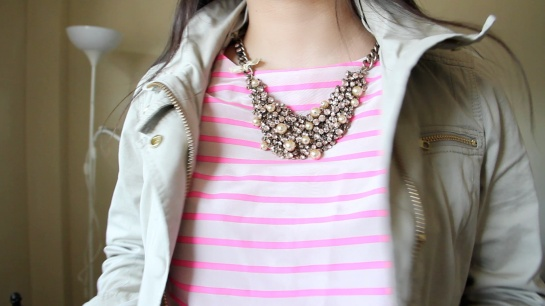 J.Crew Stripe silk tee and Foxtrot Jacket