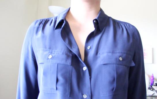 J.Crew Silk Blythe blouse in Dark Navy