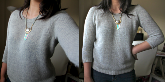 Cashmere ivy sweater + Setting Sun necklace