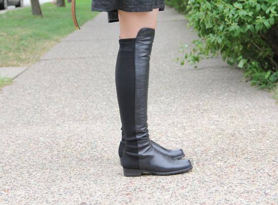 "Stuart Weitzman ""50-50″ Leather Over-the-Knee Black Boots"