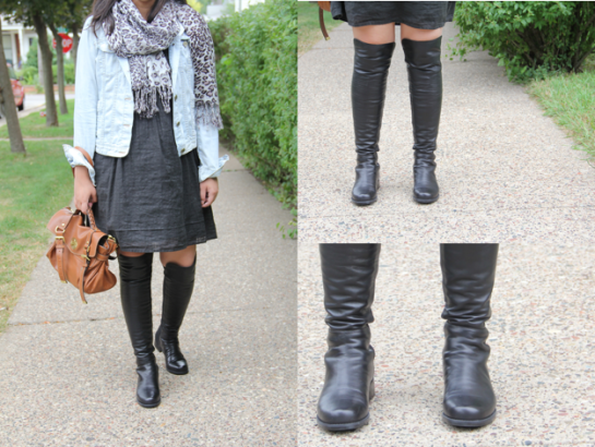 "Stuart Weitzman ""50-50″ Leather Over-the-Knee Black Boots"