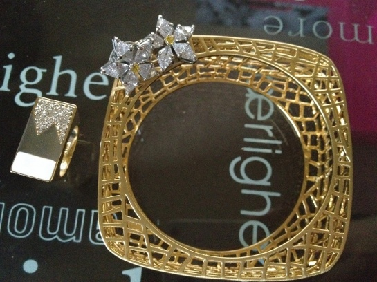 JewelMint Ever Frost RIng, Very Audrey Earrings, Bird Cage Bangle